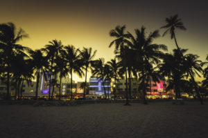 Ocean Drive street with illuminated buildings, South Beach